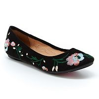 Unionbay Teal Women's Embroidered Ballet Flats