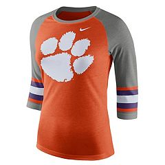 Women's Nike Clemson Tigers Striped Sleeve Tee