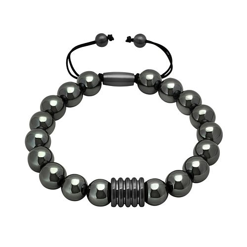 Men's Stainless Steel Hematite Beaded Bolo Bracelet