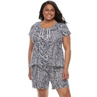 Plus Size Croft & Barrow® Pajamas: Petal Pusher Henley Tee & Shorts PJ Set