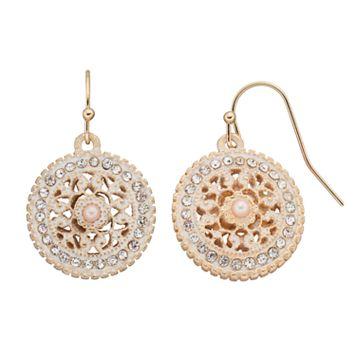 Medallion Disc Drop Earrings