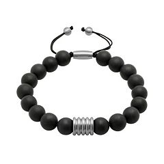 Men's Stainless Steel Onyx Beaded Bolo Bracelet