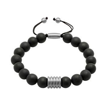 Men's Stainless Steel Onyx Beaded Bolo Bracelet