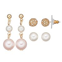 Fireball & Simulated Pearl Earring Set