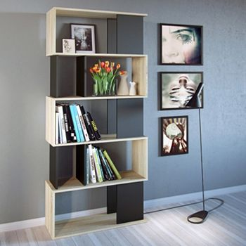 Twist Asymmetrical Two Tone Bookshelf