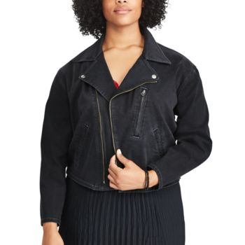 Plus Size Chaps Denim Moto Jacket