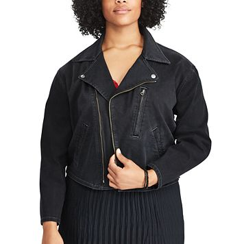 Plus Size Chaps Denim Moto Jacket