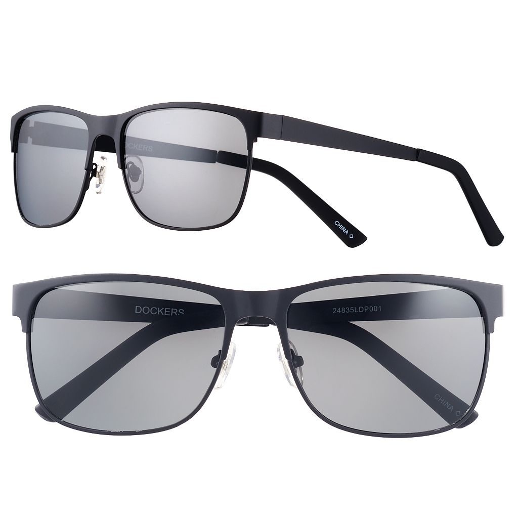 Men's Dockers Polarized Black Matte Wayfarer Sunglasses