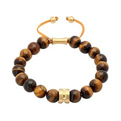 Men's Stainless Steel Tiger's–Eye Beaded Bolo Bracelet