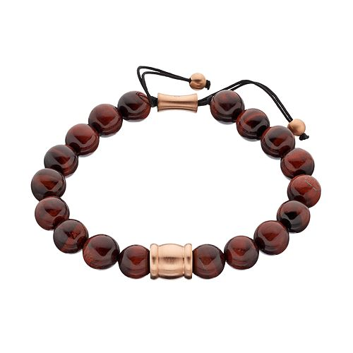 Men's Pink Ion-Plated Tiger's-Eye Beaded Bolo Bracelet