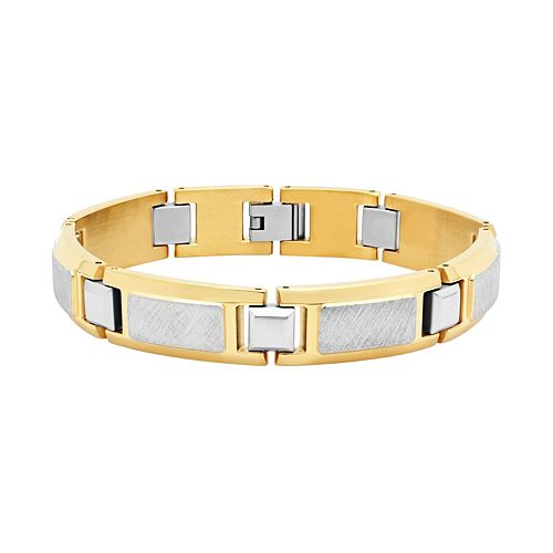 Men's Two Tone Stainless Steel Rectangle Link Bracelet