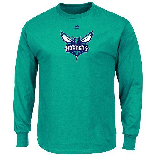 Men's Majestic Charlotte Hornets Logo II Long-Sleeve Tee
