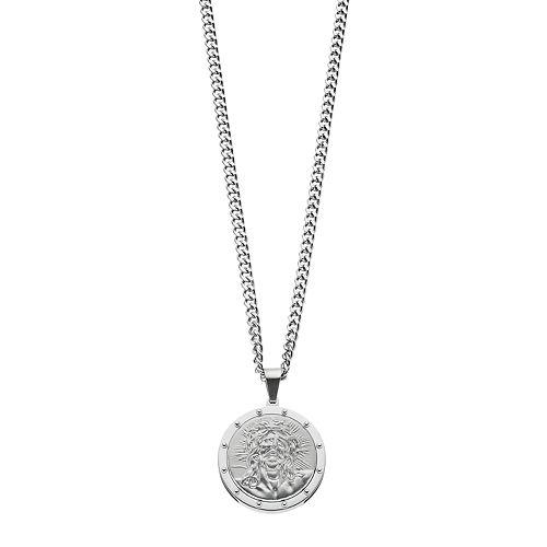 Men's Stainless Steel Jesus Medallion Pendant Necklace