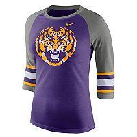Women's Nike LSU Tigers Striped Sleeve Tee