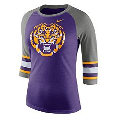 Women's Nike LSU Tigers Striped Sleeve Tee