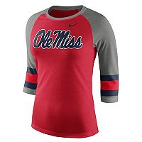 Women's Nike Ole Miss Rebels Striped Sleeve Tee
