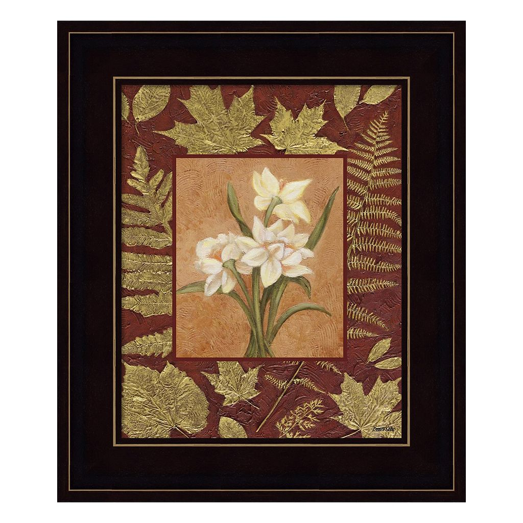 White Flowers With Leaf Border Framed Wall Art