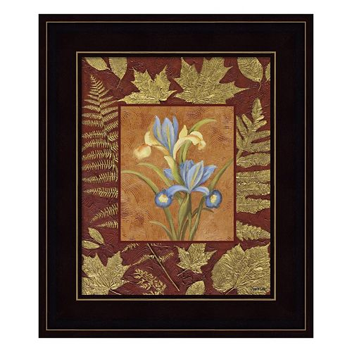 Flowers With Leaf Border Framed Wall Art