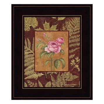 Pink Flowers With Leaf Border Framed Wall Art