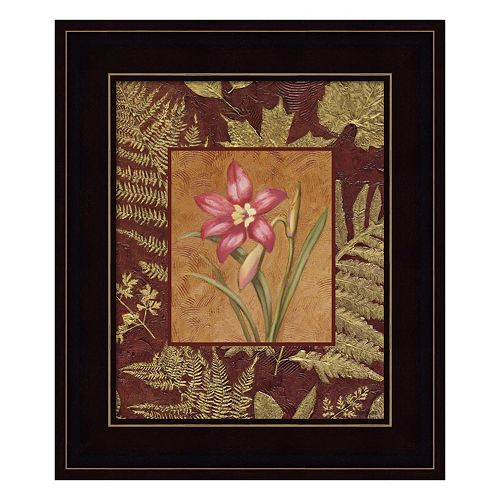 Pink Flowers With Leaf Border 2 Framed Wall Art