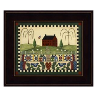 Red House With Quilts Framed Wall Art