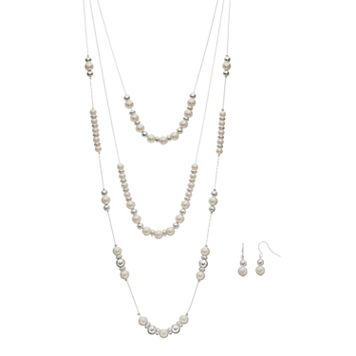 Simulated Pearl Layered Necklace & Drop Earring Set