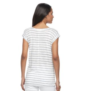 Petite Kate and Sam Striped & Floral High-Low Tee