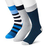 Men's SONOMA Goods for Life™ 3-pack Dot, Striped & Solid Crew Socks