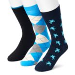 Men's SONOMA Goods for Life™ 3-pack Turtle, Argyle & Solid Crew Socks