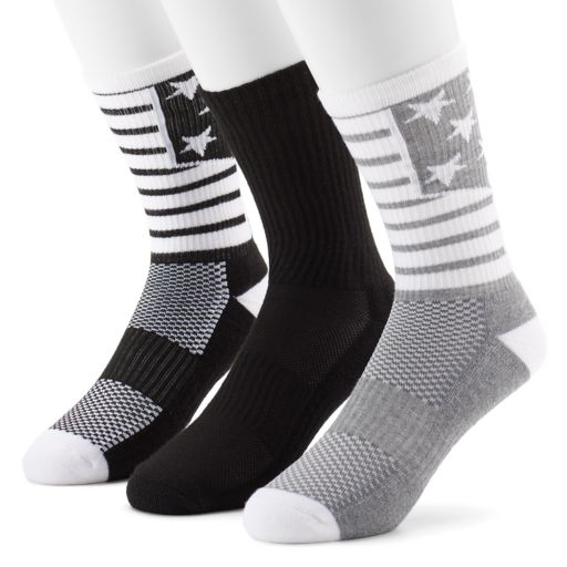 Men's Tek Gear® 3-Pack CoolTEK Americana Performance Athletic Crew Socks