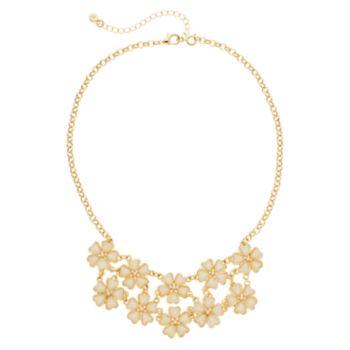 Peach Glittery Flower Statement Necklace