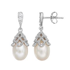 Sophie Miller Sterling Silver Dyed Freshwater Cultured Pearl & Cubic Zirconia Drop Earrings