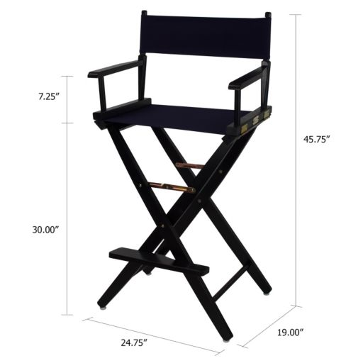 """Casual Home 30"""" Extra-Wide Black Finish Director's Chair Bar Stool"""