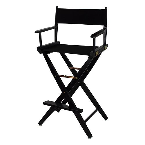 "Casual Home 30"" Extra-Wide Black Finish Director's Chair Bar Stool"