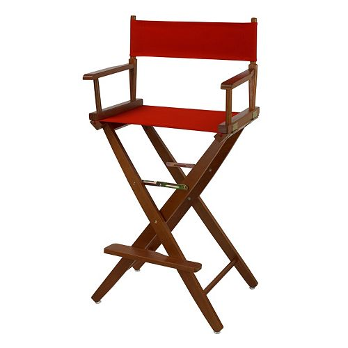 """Casual Home 30"""" Extra-Wide Oak Finish Director's Chair Bar Stool"""