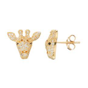 Sophie Miller14k Gold Over Silver Cubic Zirconia Giraffe Stud Earrings