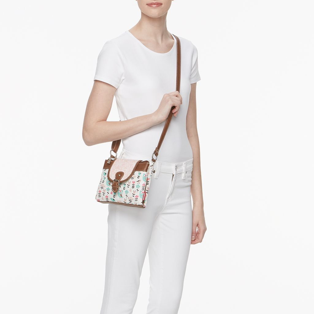 Unionbay Birds & Flowers Triple Entry Crossbody Bag