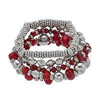 Red Beaded Stretch Bracelet Set