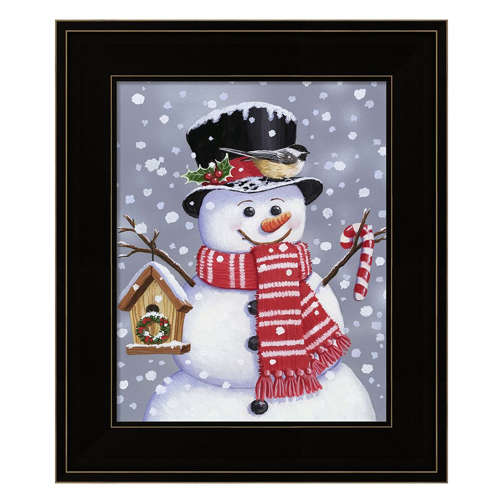 Snowman With Tophat Framed Christmas Wall Art
