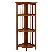 Casual Home 4-Shelf Folding Corner Bookcase