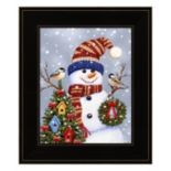 Snowman With Wreath Framed Christmas Wall Art