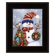 Snowman With Wreath Framed Christmas Wall Art