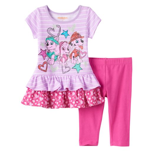 Toddler Girl Paw Patrol Everest, Skye & Marshall Striped Tiered Tunic & Leggings Set