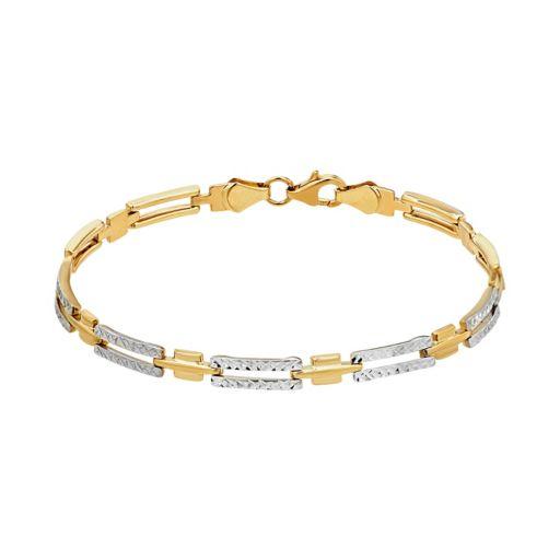 Everlasting Gold Two Tone 10k Gold Stampato Link Bracelet