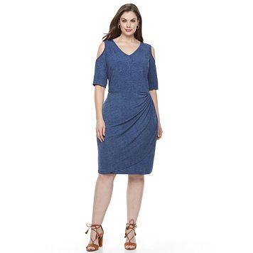 Plus Size Suite 7 Cold Shoulder Dress