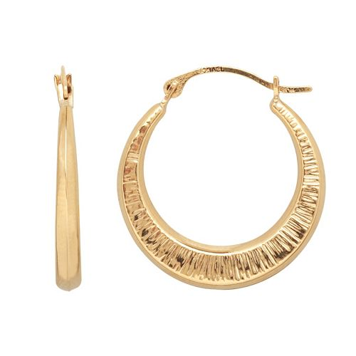 Everlasting Gold 10k Gold Textured Zebra Stripe Hoop Earrings