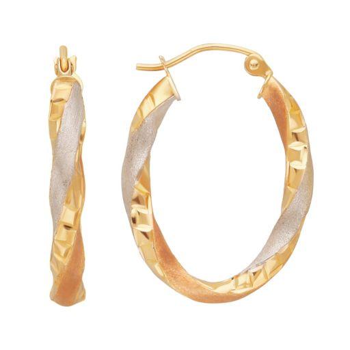 Everlasting Gold Tri-Tone 10k Gold Twisted Oval Hoop Earrings