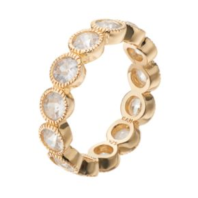 Sophie Miller 14k Gold Plated Cubic Zirconia Eternity Ring