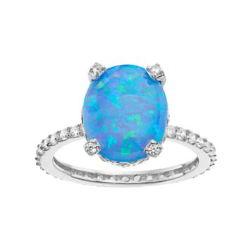 Sophie Miller Sterling Silver Lab-Created Blue Opal & Cubic Zirconia Oval Ring