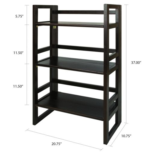Casual Home 3-Shelf Folding Student Bookcase